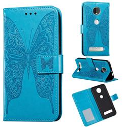 Intricate Embossing Vivid Butterfly Leather Wallet Case for Motorola Moto Z4 Play - Blue