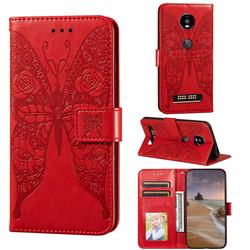 Intricate Embossing Rose Flower Butterfly Leather Wallet Case for Motorola Moto Z4 Play - Red