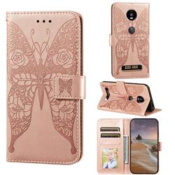 Intricate Embossing Rose Flower Butterfly Leather Wallet Case for Motorola Moto Z4 Play - Rose Gold