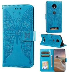 Intricate Embossing Rose Flower Butterfly Leather Wallet Case for Motorola Moto Z4 Play - Blue