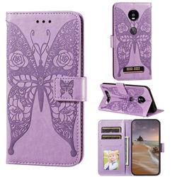 Intricate Embossing Rose Flower Butterfly Leather Wallet Case for Motorola Moto Z4 Play - Purple
