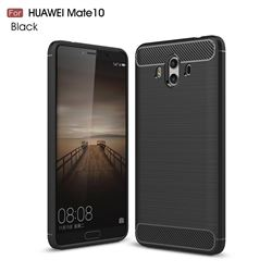 Luxury Carbon Fiber Brushed Wire Drawing Silicone TPU Back Cover for Huawei Mate 10 (5.9 inch, front Fingerprint) (Black)