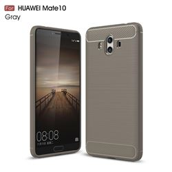Luxury Carbon Fiber Brushed Wire Drawing Silicone TPU Back Cover for Huawei Mate 10 (5.9 inch, front Fingerprint) (Gray)