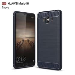 Luxury Carbon Fiber Brushed Wire Drawing Silicone TPU Back Cover for Huawei Mate 10 (5.9 inch, front Fingerprint) (Navy)