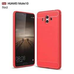 Luxury Carbon Fiber Brushed Wire Drawing Silicone TPU Back Cover for Huawei Mate 10 (5.9 inch, front Fingerprint) (Red)