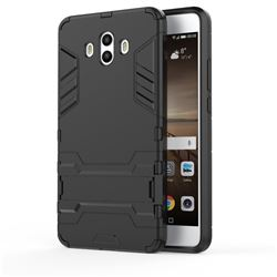 Armor Premium Tactical Grip Kickstand Shockproof Dual Layer Rugged Hard Cover for Huawei Mate 10 (5.9 inch, front Fingerprint) - Black