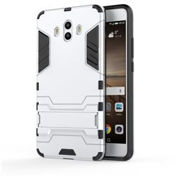Armor Premium Tactical Grip Kickstand Shockproof Dual Layer Rugged Hard Cover for Huawei Mate 10 (5.9 inch, front Fingerprint) - Silver