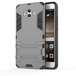 Armor Premium Tactical Grip Kickstand Shockproof Dual Layer Rugged Hard Cover for Huawei Mate 10 (5.9 inch, front Fingerprint) - Gray