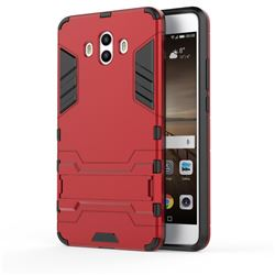 Armor Premium Tactical Grip Kickstand Shockproof Dual Layer Rugged Hard Cover for Huawei Mate 10 (5.9 inch, front Fingerprint) - Wine Red