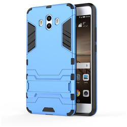Armor Premium Tactical Grip Kickstand Shockproof Dual Layer Rugged Hard Cover for Huawei Mate 10 (5.9 inch, front Fingerprint) - Light Blue