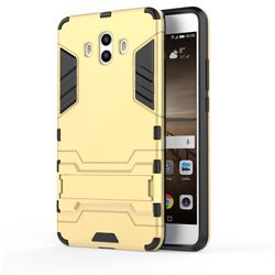 Armor Premium Tactical Grip Kickstand Shockproof Dual Layer Rugged Hard Cover for Huawei Mate 10 (5.9 inch, front Fingerprint) - Golden