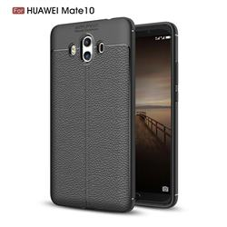 Luxury Auto Focus Litchi Texture Silicone TPU Back Cover for Huawei Mate 10 (5.9 inch, front Fingerprint) - Black