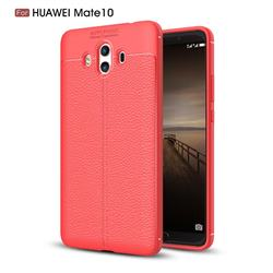 Luxury Auto Focus Litchi Texture Silicone TPU Back Cover for Huawei Mate 10 (5.9 inch, front Fingerprint) - Red