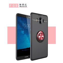 Auto Focus Invisible Ring Holder Soft Phone Case for Huawei Mate 10 (5.9 inch, front Fingerprint) - Black Red