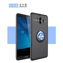 Auto Focus Invisible Ring Holder Soft Phone Case for Huawei Mate 10 (5.9 inch, front Fingerprint) - Black Blue
