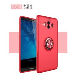 Auto Focus Invisible Ring Holder Soft Phone Case for Huawei Mate 10 (5.9 inch, front Fingerprint) - Red
