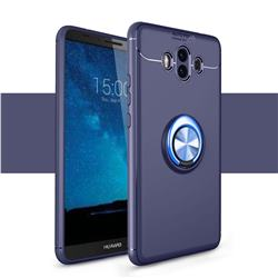 Auto Focus Invisible Ring Holder Soft Phone Case for Huawei Mate 10 (5.9 inch, front Fingerprint) - Blue