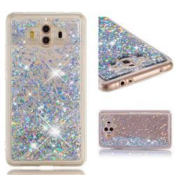 Dynamic Liquid Glitter Quicksand Sequins TPU Phone Case for Huawei Mate 10 (5.9 inch, front Fingerprint) - Silver