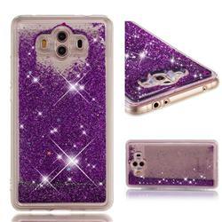 Dynamic Liquid Glitter Quicksand Sequins TPU Phone Case for Huawei Mate 10 (5.9 inch, front Fingerprint) - Purple