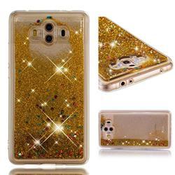Dynamic Liquid Glitter Quicksand Sequins TPU Phone Case for Huawei Mate 10 (5.9 inch, front Fingerprint) - Golden