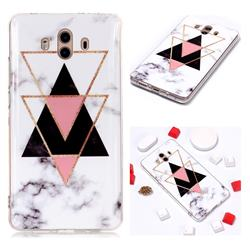 Inverted Triangle Black Soft TPU Marble Pattern Phone Case for Huawei Mate 10 (5.9 inch, front Fingerprint)