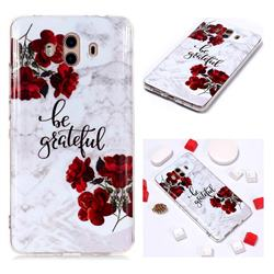 Rose Soft TPU Marble Pattern Phone Case for Huawei Mate 10 (5.9 inch, front Fingerprint)