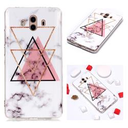 Inverted Triangle Powder Soft TPU Marble Pattern Phone Case for Huawei Mate 10 (5.9 inch, front Fingerprint)