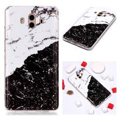Black and White Soft TPU Marble Pattern Phone Case for Huawei Mate 10 (5.9 inch, front Fingerprint)