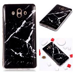 Black Rough white Soft TPU Marble Pattern Phone Case for Huawei Mate 10 (5.9 inch, front Fingerprint)