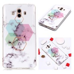 Hexagonal Soft TPU Marble Pattern Phone Case for Huawei Mate 10 (5.9 inch, front Fingerprint)