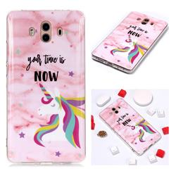 Unicorn Soft TPU Marble Pattern Phone Case for Huawei Mate 10 (5.9 inch, front Fingerprint)