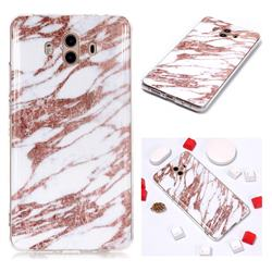Rose Gold Grain Soft TPU Marble Pattern Phone Case for Huawei Mate 10 (5.9 inch, front Fingerprint)