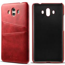 Suteni Retro Classic Card Slots Calf Leather Coated Back Cover for Huawei Mate 10 (5.9 inch, front Fingerprint) - Red