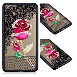 Rose Lace Diamond Flower Soft TPU Back Cover for Huawei Mate 10 (5.9 inch, front Fingerprint)