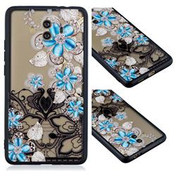 Lilac Lace Diamond Flower Soft TPU Back Cover for Huawei Mate 10 (5.9 inch, front Fingerprint)