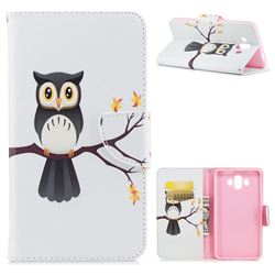 Owl on Tree Leather Wallet Case for Huawei Mate 10 (5.9 inch, front Fingerprint)
