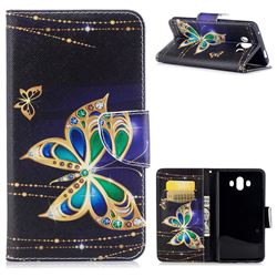 Golden Shining Butterfly Leather Wallet Case for Huawei Mate 10 (5.9 inch, front Fingerprint)