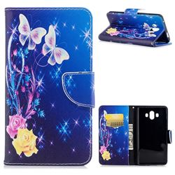 Yellow Flower Butterfly Leather Wallet Case for Huawei Mate 10 (5.9 inch, front Fingerprint)