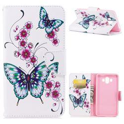 Peach Butterflies Leather Wallet Case for Huawei Mate 10 (5.9 inch, front Fingerprint)