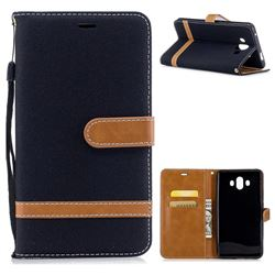 Jeans Cowboy Denim Leather Wallet Case for Huawei Mate 10 (5.9 inch, front Fingerprint) - Black