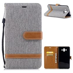 Jeans Cowboy Denim Leather Wallet Case for Huawei Mate 10 (5.9 inch, front Fingerprint) - Gray