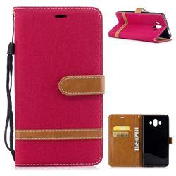 Jeans Cowboy Denim Leather Wallet Case for Huawei Mate 10 (5.9 inch, front Fingerprint) - Red