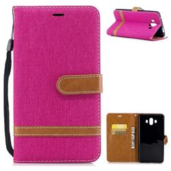 Jeans Cowboy Denim Leather Wallet Case for Huawei Mate 10 (5.9 inch, front Fingerprint) - Rose