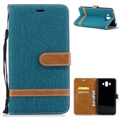 Jeans Cowboy Denim Leather Wallet Case for Huawei Mate 10 (5.9 inch, front Fingerprint) - Green