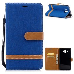 Jeans Cowboy Denim Leather Wallet Case for Huawei Mate 10 (5.9 inch, front Fingerprint) - Sapphire