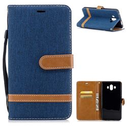 Jeans Cowboy Denim Leather Wallet Case for Huawei Mate 10 (5.9 inch, front Fingerprint) - Dark Blue