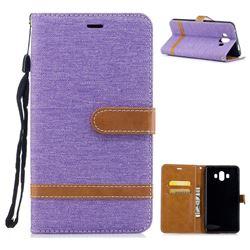 Jeans Cowboy Denim Leather Wallet Case for Huawei Mate 10 (5.9 inch, front Fingerprint) - Purple