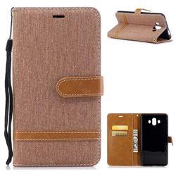 Jeans Cowboy Denim Leather Wallet Case for Huawei Mate 10 (5.9 inch, front Fingerprint) - Brown