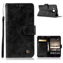 Luxury Retro Leather Wallet Case for Huawei Mate 10 (5.9 inch, front Fingerprint) - Black