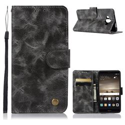 Luxury Retro Leather Wallet Case for Huawei Mate 10 (5.9 inch, front Fingerprint) - Gray